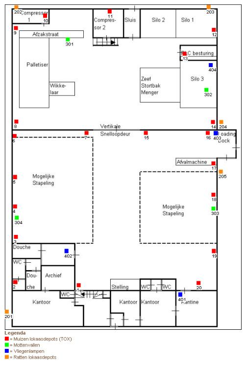Voorbeeldplattegrond online logboek met detectoren